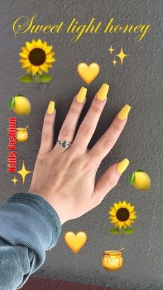 Trendy Yellow Nail Art Designs To Make You Stunning In Summer;Acrylic Or Gel Nails; French Or Coffin Nails; Matte Or Glitter Nails; Acrylic Nails Yellow, Yellow Nail Art, Summer Acrylic Nails, Cute Acrylic Nails, Cute Nails, Summer Nails, Pretty Nails, Gel Nails, Coffin Nails