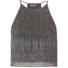 Topshop Metallic Crinkle Cami (51 BRL) ❤ liked on Polyvore featuring intimates, camis, black, topshop cami, high neck camisole, high neck cami, polyester camisole and metallic cami