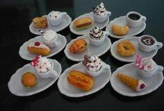 9 Set Coffee and Tea Break with Bread Bakery on Plate Dollhouse Miniatures Food #handmade