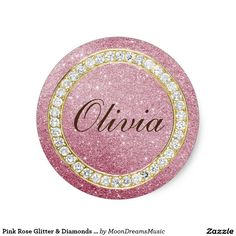 #PinkRoseGlitter&Diamonds #SmallRoundStickers by #MoonDreamsMusic #FauxGlitter #FauxDiamonds