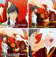 Legend of Korra: please let Iroh and Zuko meet again!>>>I don't know if it's the expression, but you can really see the old zuko in that last panel Korra Avatar, Team Avatar, Dark Fantasy, Final Fantasy, Blade Runner, Legend Of Aang, Geeks, Got Anime, Thriller