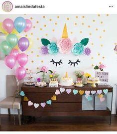 ideas for birthday party unicorn decorations 4th Birthday Parties, Birthday Bash, Birthday Ideas, Fete Emma, Unicorn Themed Birthday, Unicorn Baby Shower, Unicorn Wall, Unicorn Head, Bday Girl