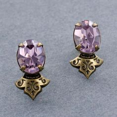 Sadie Green's Light Amethyst Austrian Crystal Stud Earring