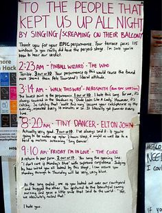 London resident's review of his noisy neighbours' late night karaoke...