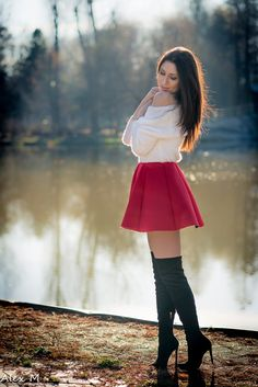 """"""" ohneherrin: """" specialscotsman: """"Lovely """" """" Gorgeous """" A lovely red skater skirt with off the shoulder top, thigh highs and some high heels (or perhaps some over the knee boots… hard to. Red Skater Skirt, Sexy Skirt, Thigh High Boots Heels, Hot High Heels, Skirt Outfits, Cute Outfits, Tween Fashion, Womens Fashion, Over Boots"""