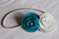 four circles arranged with a glue dot for the pearl or bead in the center. Attach to headband.
