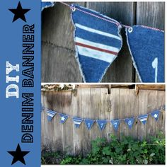 DIY it: Patriotic denim banner stenciled with a bleach pen | #denim #repurpose #4thofjuly