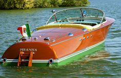 """Piranha, a 1959 Riva Tritone, (hull number was originally owned by Prince Ali Solomone Aga Khan the legendary """"bon vivant."""" Born of a Persian father and an Wooden Boats For Sale, Wooden Speed Boats, Riva Boat, Classic Wooden Boats, Second Wife, Vintage Boats, Old Boats, Classic Motors, Rita Hayworth"""