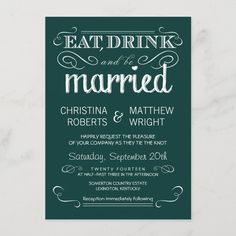 """Rustic Typography Emerald Green Wedding Invitation Size: 4.5"""" x 6.25"""". Gender: unisex. Age Group: adult. Material: Matte. Teal Blue Weddings, Emerald Green Weddings, Teal Wedding Invitations, Wedding Invitation Size, Retro Wedding Theme, Wedding Details, Typography, Rustic, Gender"""