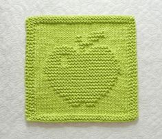 APPLE Knit Dishcloth or Wash Cloth Lime Green by AuntSusansCloset