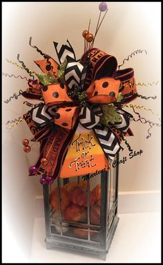 Halloween Lantern Swag Halloween Wreath accent bow Candy