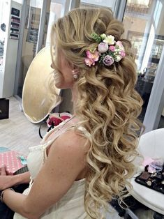 bridal hairstyles for long hair with flower