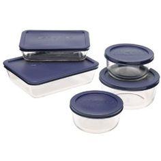#5: Pyrex Storage 10-Piece Set, Clear with Blue Lids.