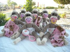 Sock Monkey Baby Shower / Party Centerpieces by DeedleDeeCreations