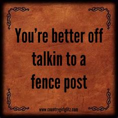 Talk southern to me-You're better off talking to a fence post Southern Humor, Southern Pride, Southern Ladies, Southern Sayings, Country Quotes, Southern Comfort, Simply Southern, Southern Charm, Southern Belle