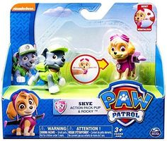 Paw Patrol Skye and Rocky Figure Set Action pack  #nickolodeen