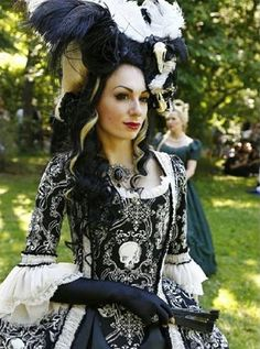 Gothic Rococo Jacket Dress in cotton Skulls by AliceCorsets