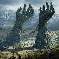 ideas for dark fantasy landscape rpg Dark Fantasy Art, Fantasy Artwork, Fantasy Concept Art, Fantasy Kunst, Sci Fi Fantasy, Fantasy World, Fantasy City, Fantasy Places, Fantasy Setting