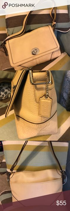 COACH-HAMPTON COACH- Hamilton Beige-Pebble Leather Purse, Style: F13085. Strap can be worn two ways: doubled - shoulder purse, or long - cross body purse. Leather has no splits or tears. Slip pocket on front has some pen marks. The corners have slight wear. This is in great USED condition.   • Silver tone hardware  • COACH Embossed Signature Hangtag  • Interior has 2 pouch pockets/1zippered pocket.  • Exterior has a slip pocket. Coach Bags Crossbody Bags