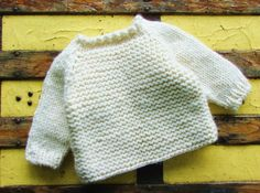 Hand Knitted Baby Clothing - Creamy White Chunky Wool Blend Pullover for Infant Boy or Girl - Size 9 to 12 Months Baby Clothes