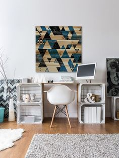 Transitional home office with a creative work desk [Design: Marmont Hill]