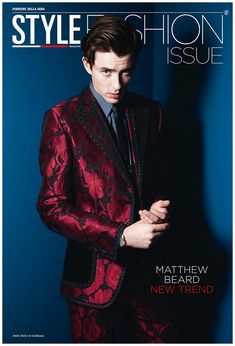 British actor Matthew Beard captured by the lens of Rankin, for the Style Fashion issue coverstory of Corriere Della Sera. Matthew Beard, Hot British Actors, Beard Trend, Cover Male, Beard Model, Spring Looks, Italian Fashion, Celebrity Hairstyles, New Trends