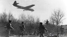 Horsa glider bringing in reinforcements at Wesel, Germany