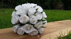 White Bride Wedding Bouquet Paper Bride Flowers by moniaflowers