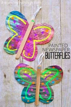 This colorful painted newspaper butterfly craft is so simple and fun for kids to make. It makes a great spring kids craft and kids will love adding their creative touch by decorating the butterfly wings.