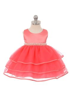 Girls Dress Style B113 - Sleeveless Satin and Organza Dress with Pearl Waist in Choice of Color  Beautiful sleeveless satin and organza dress that is truly a classic. Take a close up look of the pearl accents that align the waistband. The dress is fully lined for complete coverage to ensure that your princess stays comfortable. Sash is attached at side seams.  http://www.flowergirldressforless.com/mm5/merchant.mvc?Screen=PROD&Product_Code=CB_B113CO&Store_Code=Flower-Girl&Category_C..