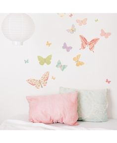 Beautiful Love Mae butterfly stickers are made of adhesive fabric. They are removable and completely reusable. Perfect!