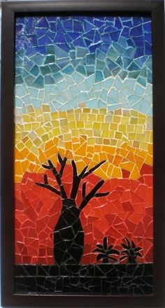 Sunset in the Kimberley mosaic by Mary Sutherland\\n\\n28/05/2012 9:52 PM silhouette tree