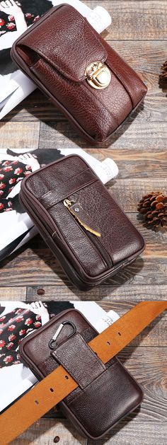 US$9.28 + Free Shipping. 5.5 inches Men Genuine Leather Vintage Waist Bag Leisure Business Fanny Pack Cellphone Bag. Buy More & Save More!