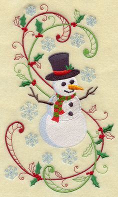 Enchanted Christmas Snowman with Swirls design (F4661) from www.Emblibrary.com