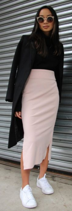 something inherently gorgeous + blush and black + Linh Niller Huynh + color combo is powerful yet feminine + pair of Keds-style sneaks + calf-length pencil skirt + gorgeous coat + can go a long way + fresh spring outfits!  Skirt: Sara Jane Knapp, Top: 360cashmere, Coat: J.Crew, Shoes: Stan Smiths