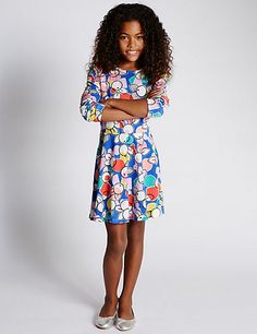 Cotton Rich Floral Dress with StayNEW™ (5-14 Years) | M&S