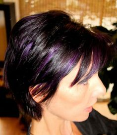 purple highlights for dark hair | Black and purple hair highlights pictures 3