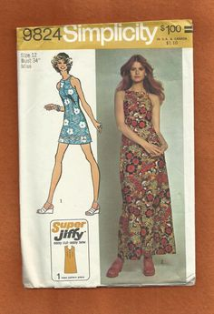 900148751de 1972 Simplicity 9824 Awesome Sundress with Cutaway Armholes Made with Only  3 Pattern Pieces Size 12
