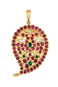 A Pendent crafted in Gold set with Valanda, Ruby and Emerald