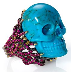 Turquoise and ruby skull ring by Wendy Brandes | The House of Beccaria