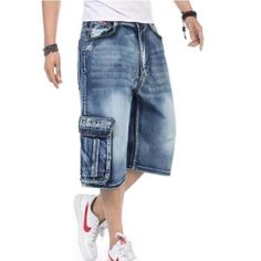 38.26$  Buy here - http://aio3n.worlditems.win/all/product.php?id=32668790942 - 2016 New Arrival High Quality Mens Loose Denim Cargo Short Denim Hip Hop baggy Pants Shorts Jean Plus Size 36 38 40 42 46