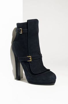 Alexander McQueen Buckle Strap Suede Boot available at #Nordstrom
