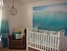 I Love That!: Baby O's Nursery Reveal Nautical nursery, beach theme nursery, ombré nursery, giant wall art