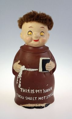 Vintage, Thou Shall Not Steal, Monk, Still, Piggy Bank.  This Classic, Mid Century Bank measures Approximately 7 1/4 tall. It Depicts the