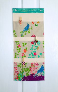 Wall or Door Organizer in a Five Pocket Japanese Flower and Bird Design on Etsy, $20.50