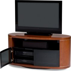 """Share and Save $5 Off Any Order Over $99. (excludes a few products) Revo 54"""" Oval Rotating TV Stand in Cherry or Espresso #dynamichome"""