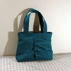 Ruffled Flap Handbag with Buttons in Turquoise by WhitneyJude, $44.00