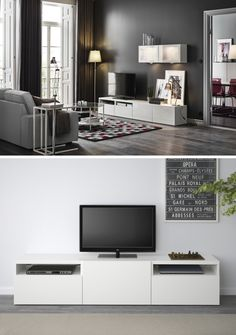 Customize your living room entertainment center with the BESTÅ system! IKEA BESTÅ can grow and adapt as your storage needs change, making sure there's plenty of storage space!