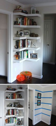 Make a Corner Wall Shelf With L Shape To Get The Most Of The Space Available. Add shelves to a corner wall and keep it closer to the ceiling than to the floor. This forces the eye to look up, making the room look bigger, and frees up space on the floor, making the room seem taller than it actually is. via trulylovelylife.