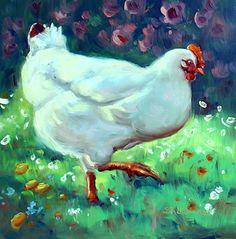August 15, 2014 Pretty Chicken Painting! | Plein Aire in Maine